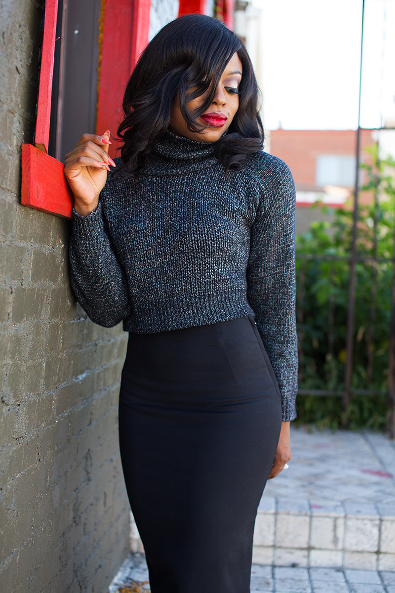 Fall work style, pencil skirt  and cable knit sweater