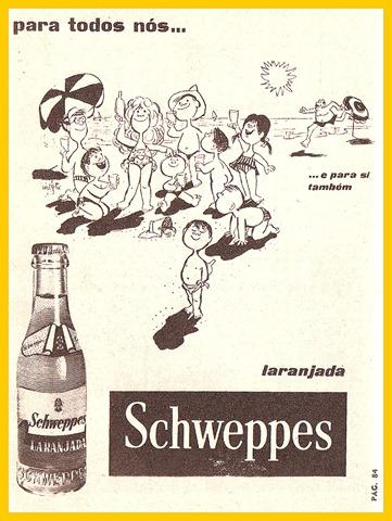 Propaganda da Schweppes, nos anos 60 (1962). Campanha veiculada em Portugal.