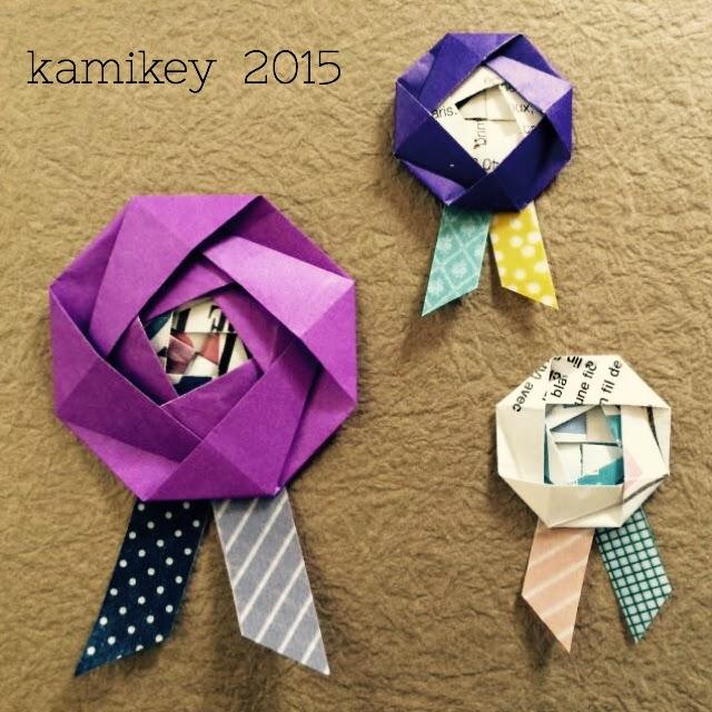 すべての折り紙 折り紙 小さい サイズ : マステでロゼットリボン風に ...