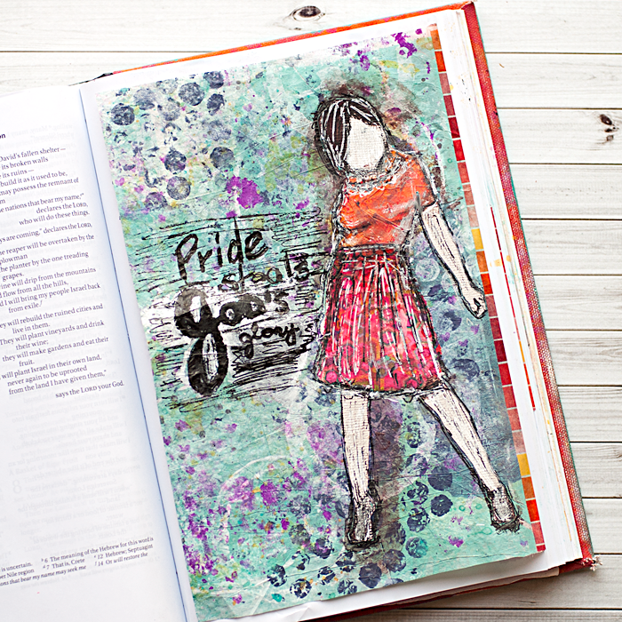 Heather Greenwood Designs | Art Journal Bible Tutorial: using painted deli paper background for a tip-in | mixed media