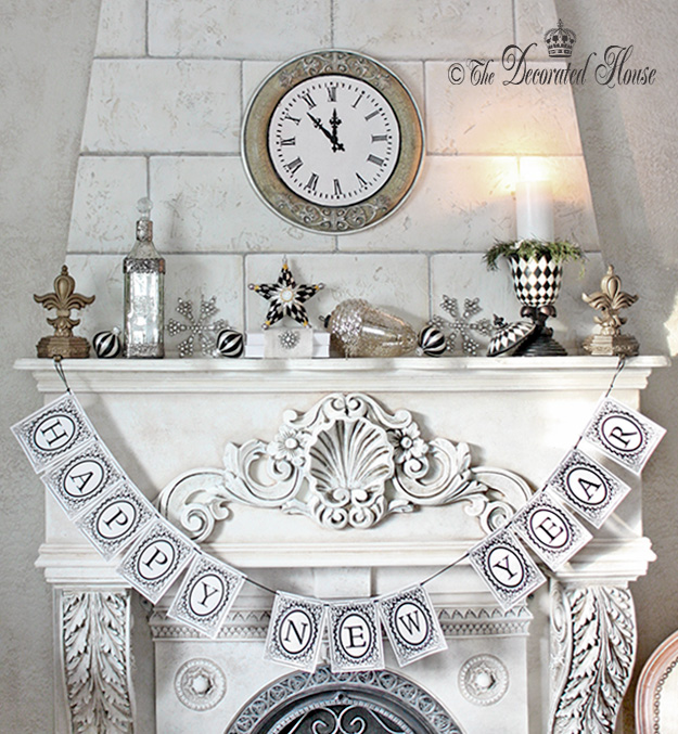 The Decorated House ~ Happy New Year. New Year's Decorating Mantel in Black and White with Mercury Glass