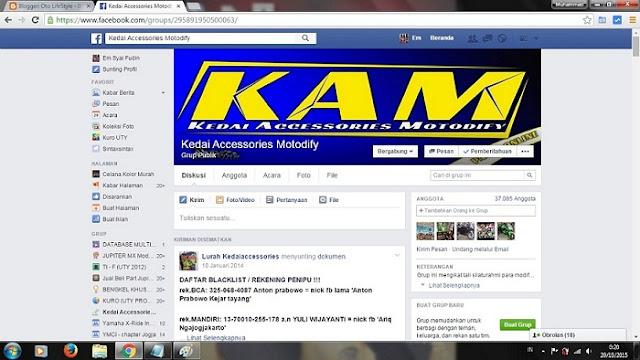 Grup Facebook Jual beli aksesoris Motor Lengkap