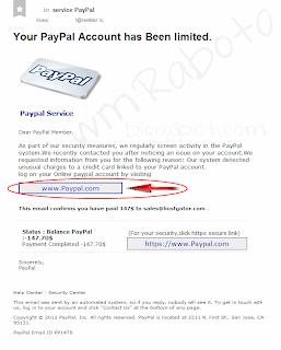 Письмо от фишингового сайта