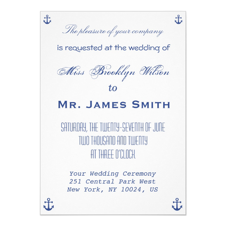 Nautical Wedding Invitations Bride Groom Hosting