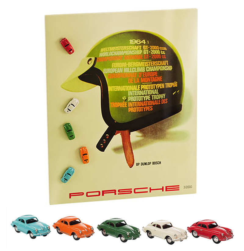 a selection of 12 porsche designed gifts for everyone in the family porsche magnetic board with vintage image and 5 magnetic cars