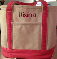 pink and off white personalized LL Bean tote