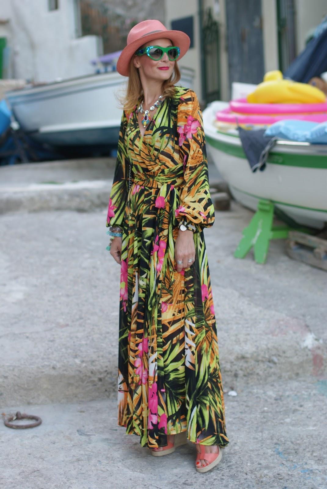 prada voice sunglasses found on giarre dot com, tropical print chiffon maxi dress, ecua-andino hat for a summer boho style with espadrilles on Fashion and Cookies fashion blog, fashion blogger style
