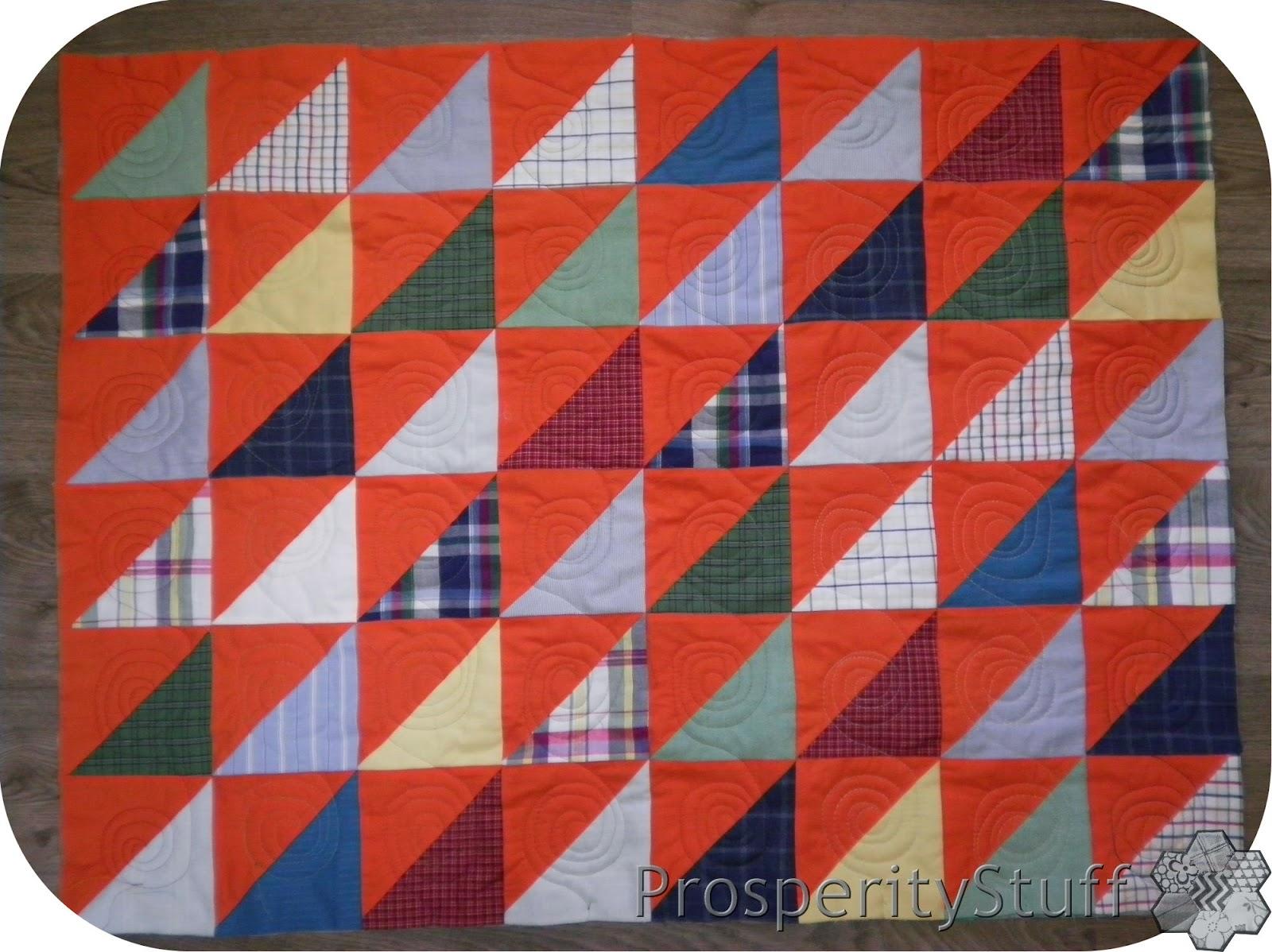 ProsperityStuff Half-Square-Triangle Quilt - solids & plaids