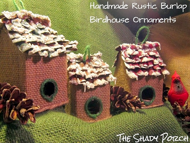 Handmade Rustic Burlap Birdhouse Ornament #craft #homemade #Christmas #ornament