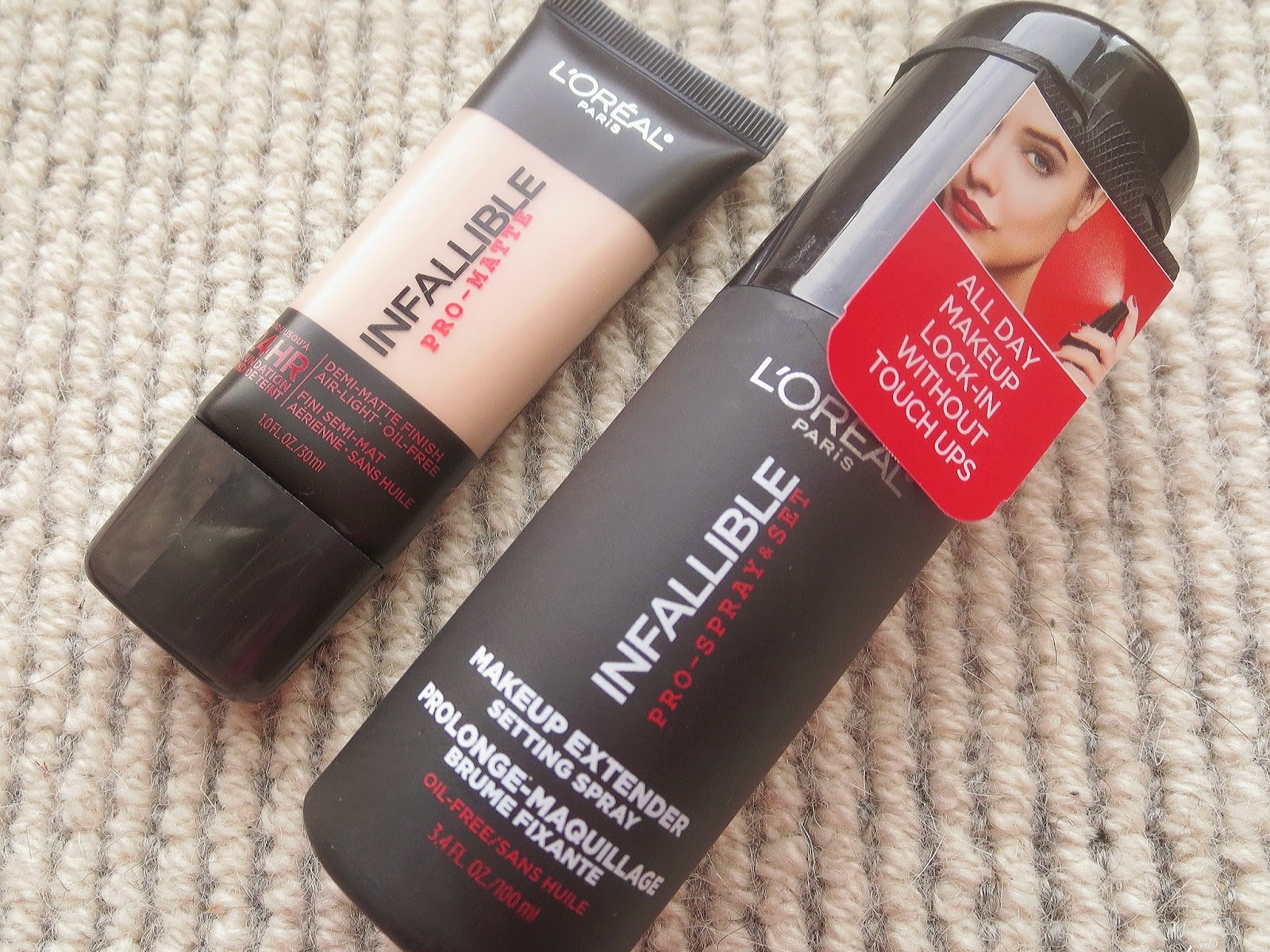a picture of L'Oreal Infallible Pro-Matte Foundation and L'Oreal Infallible Pro-Spray & Set