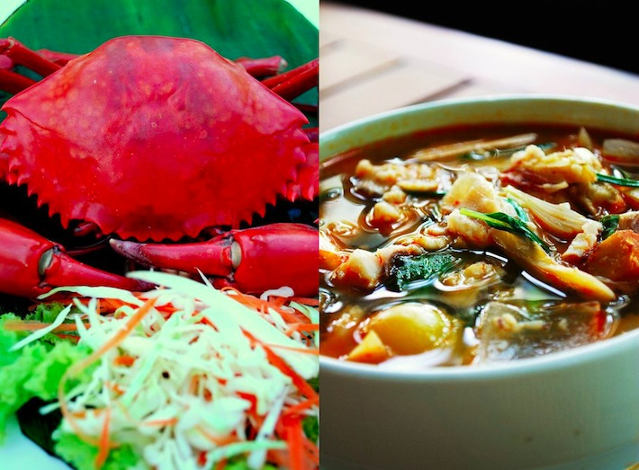asian crab dish and seafood soup