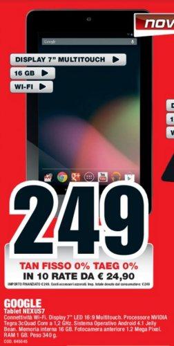 Sul volantino mediaworld il nuovo Tablet Google nexus 7 a rate