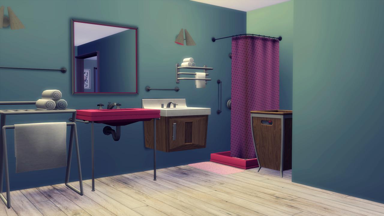 My sims 4 blog awesims midmod bedroom and bathroom for Bathroom ideas sims 4
