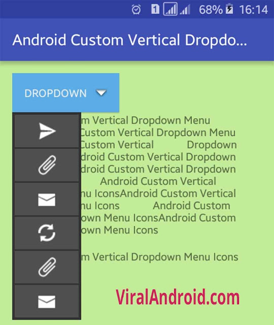 Example: How to Implement Custom Vertical Dropdown Icons Menu in Android