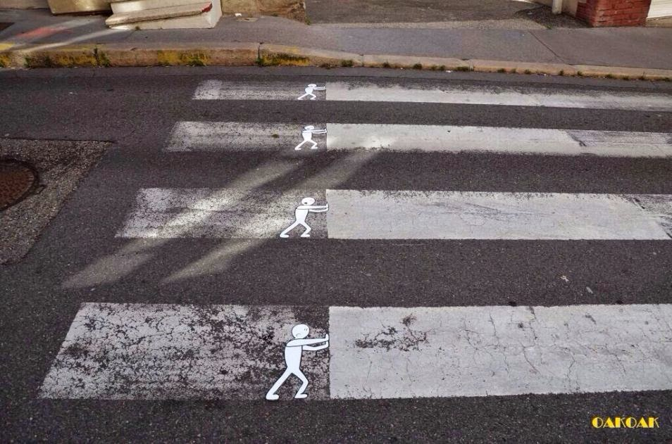 The Best Examples Of Street Art In 2012 And 2013 - Cross Walk by Oakoak, Germany