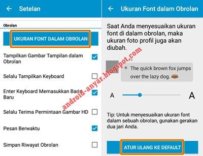 Setelan Ukuran Font BBM Android