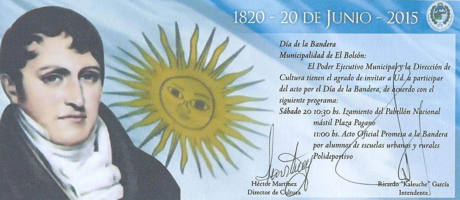 tarjeta de invitación para participar del acto del día de la Bandera