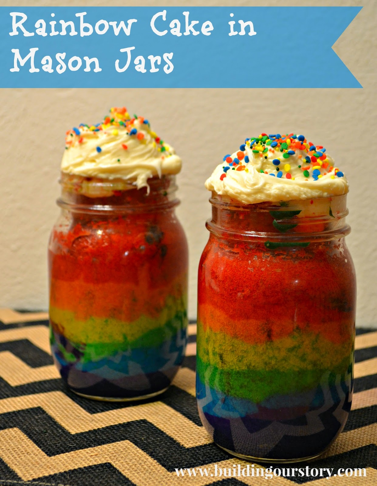 Rainbow Cake In A Jar Recipe — Dishmaps