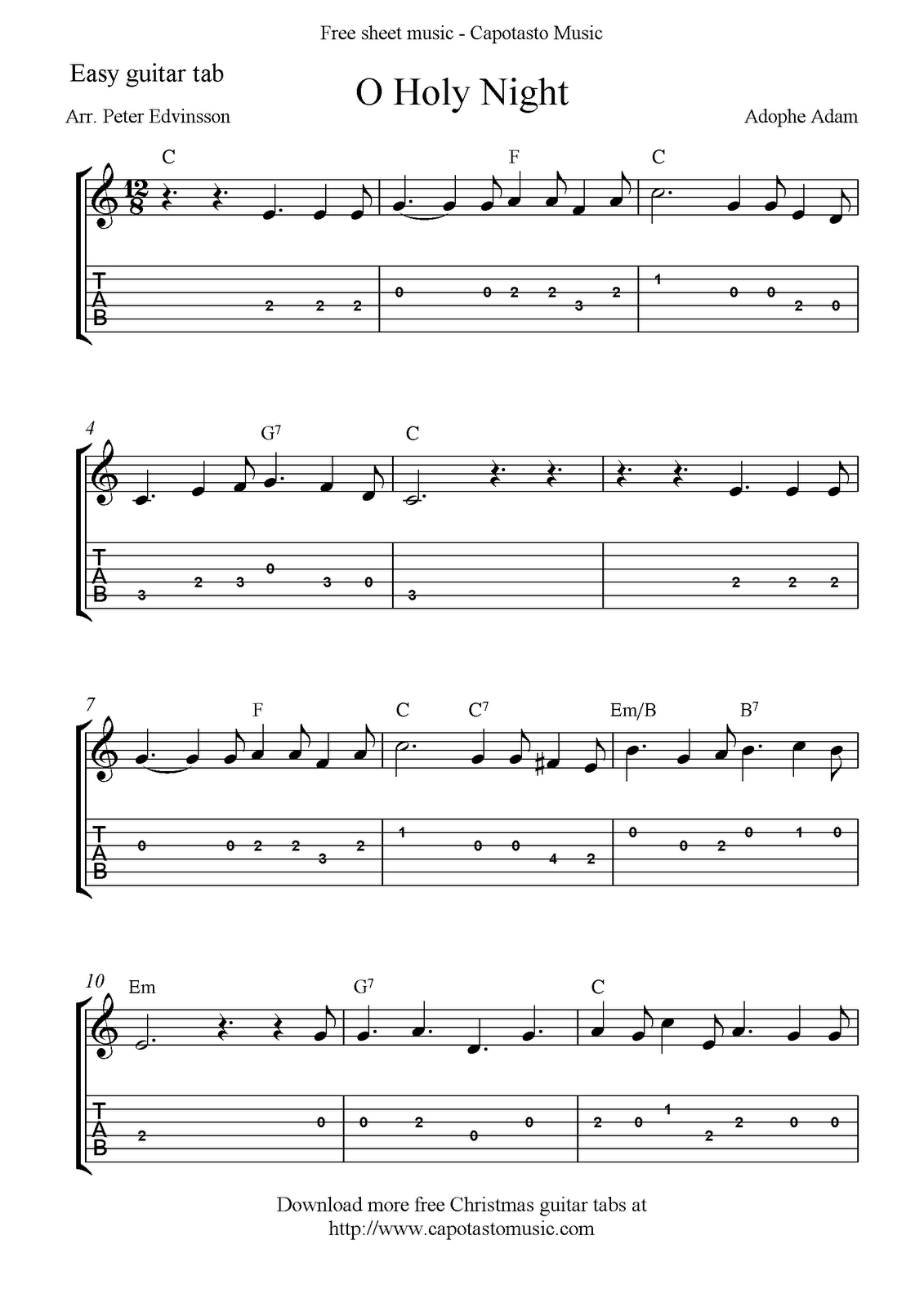 O Holy Night, free easy Christmas guitar sheet music and guitar tabs