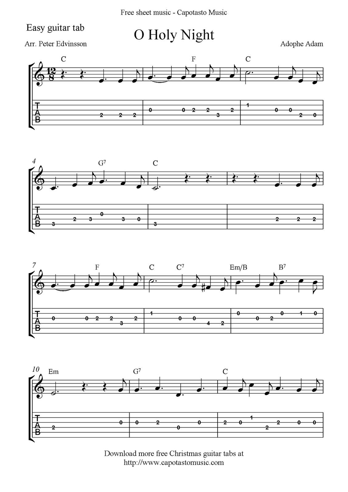 Oh Holy Night Chord Chart