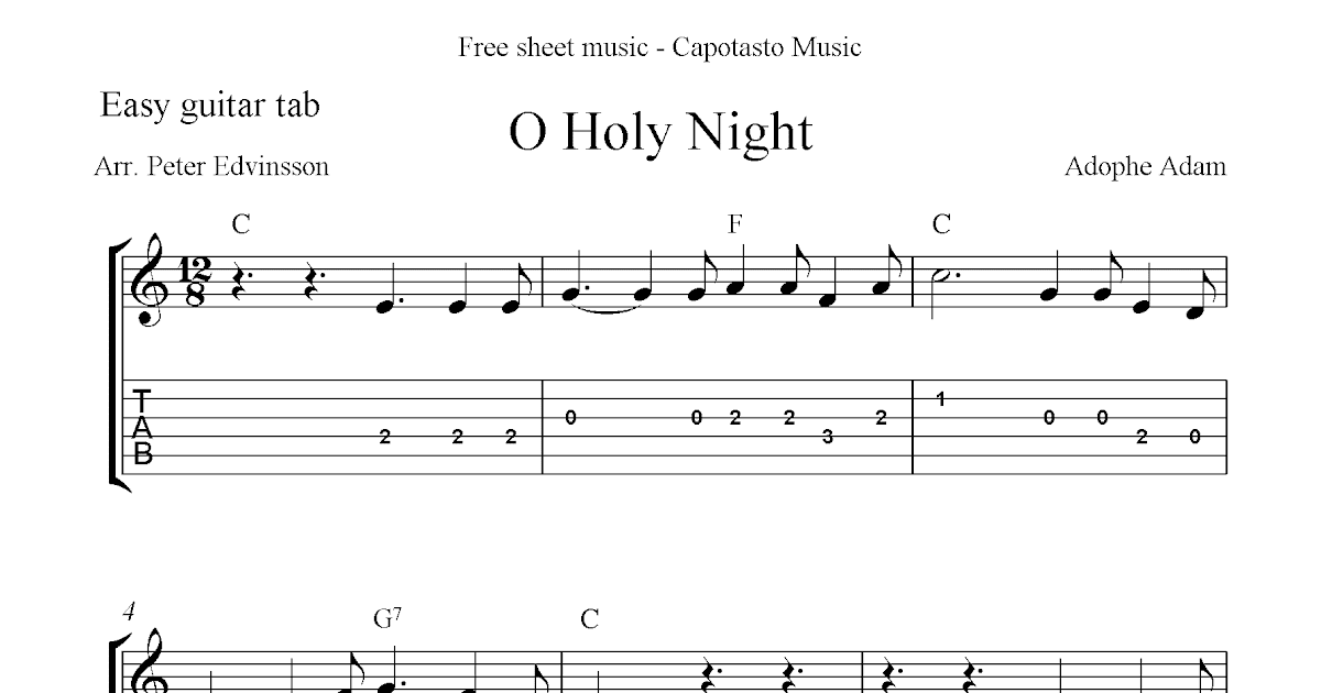 Holy night free easy christmas guitar sheet music and guitar tabs
