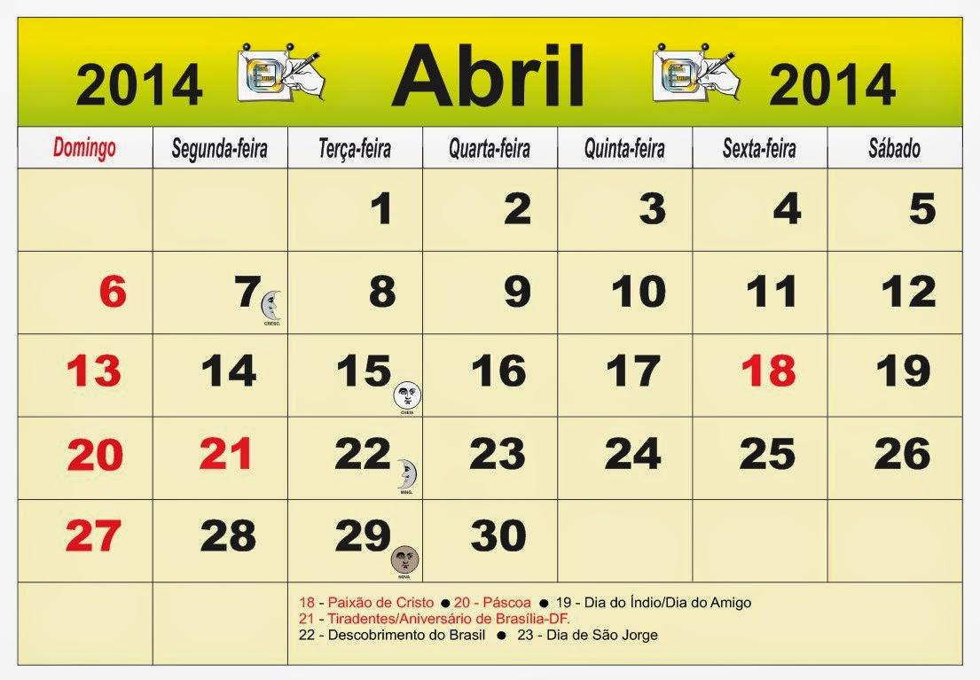 Calendário Brasil do mês de Abril 2014, com as fases da lua e ...