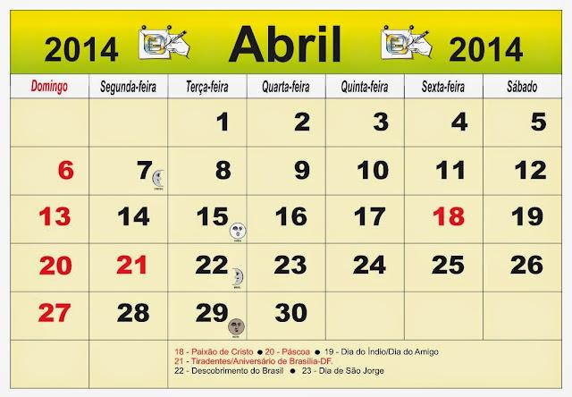 ... Brasil do mês de Abril 2014, com as fases da lua e feriados nacional