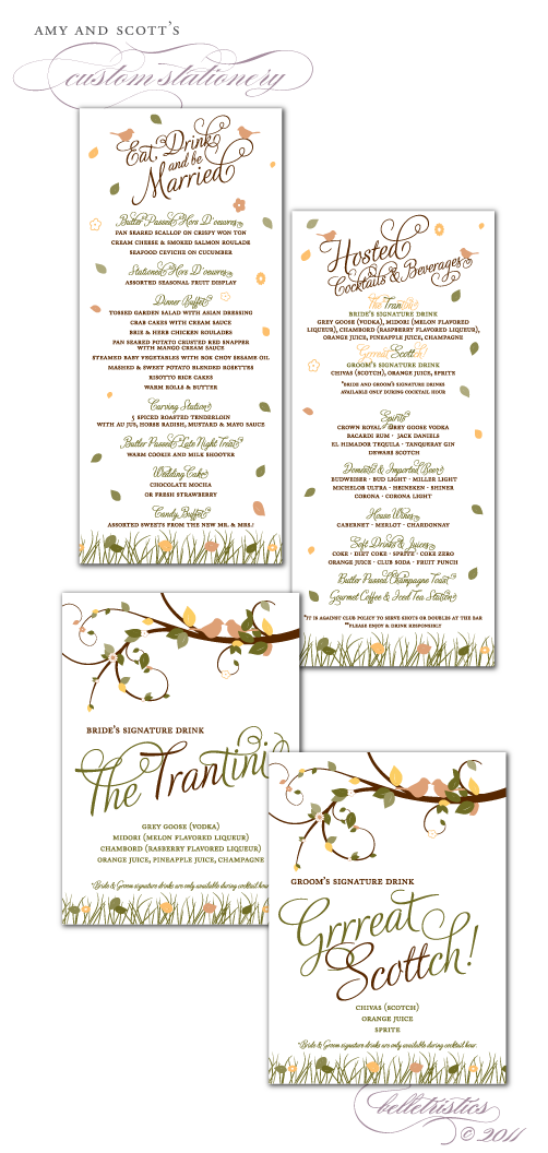 custom wedding reception dinner drink menu signage signature drinks printable diy