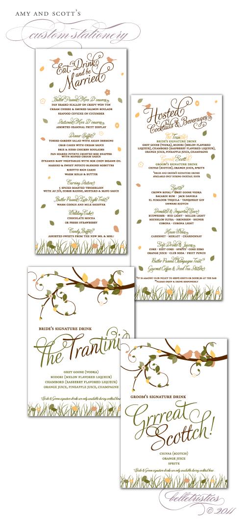 custom wedding reception dinner drink menu signage signature drinks printable diy