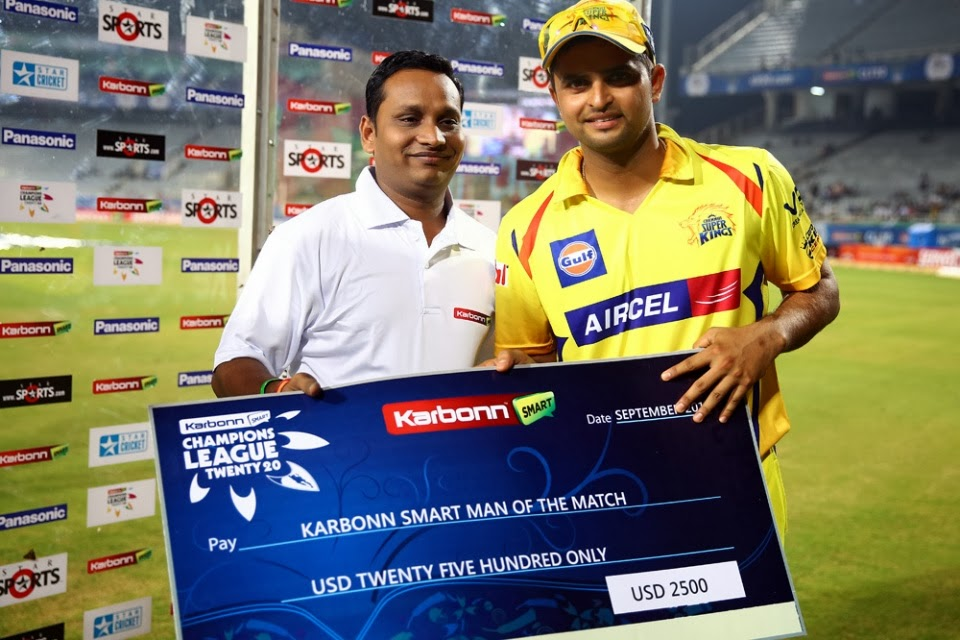 Suresh-Raina-Man-of-the-Match-Chennai-Super-Kings-vs-Sunrisers-Hyderabad-M10-CLT20-2013