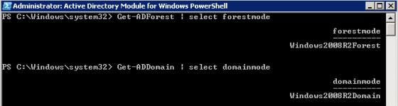 Get-ADDomain | select domainmode