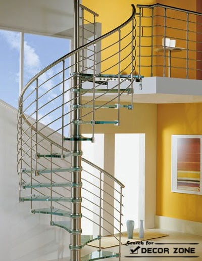 Marvelous Spiral Glass Staircase Design With Stainless Steel Railings