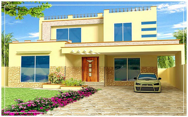 Pakistan 1 kanal, 10 Marla Plan, 3d Front elevation of House Beautiful ...