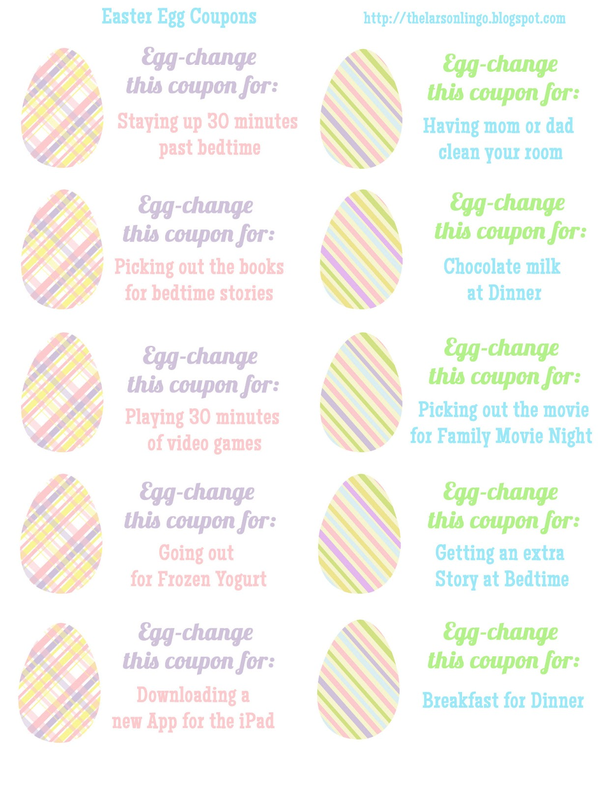 image relating to Egg Coupons Printable identified as The Larson Lingo: Easter Egg Discount coupons Totally free Printable