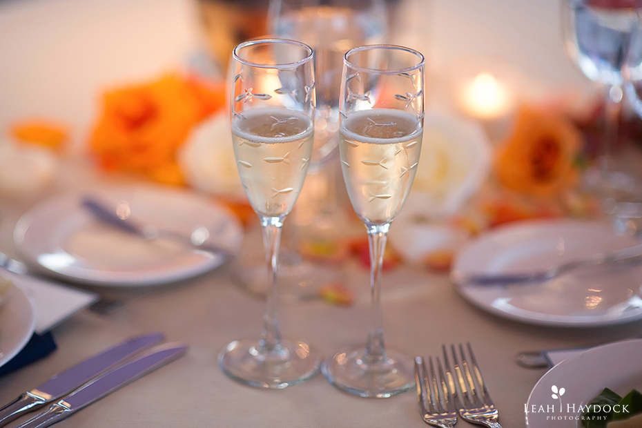 Champagne glasses with tiny fish at New England Aquarium Wedding