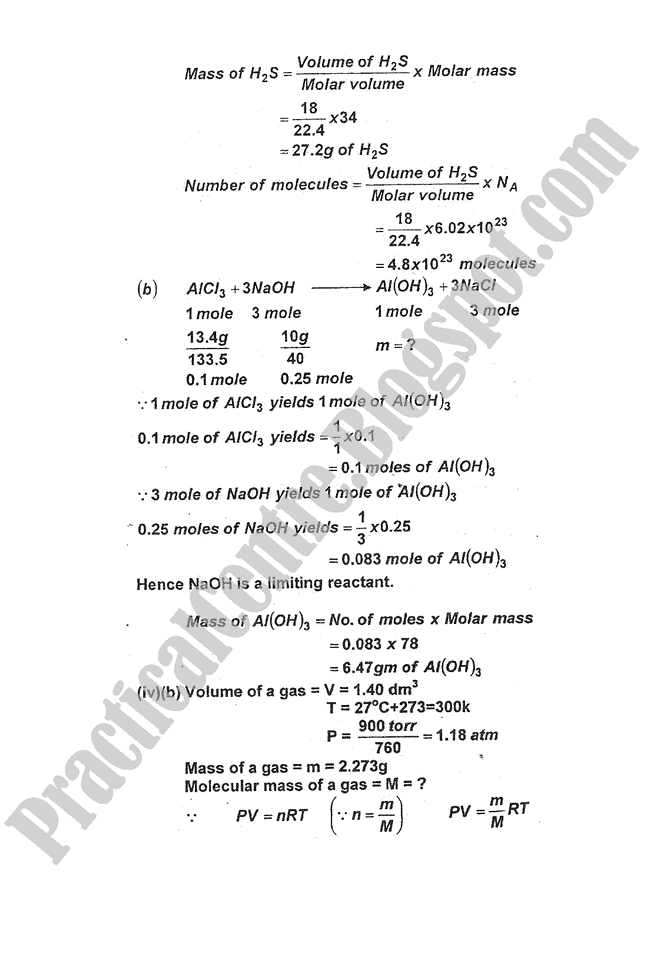 Chemistry-Numericals-Solve-2012-five-year-paper-class-XI