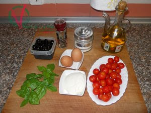 Ingredientes para la tortilla caprese.