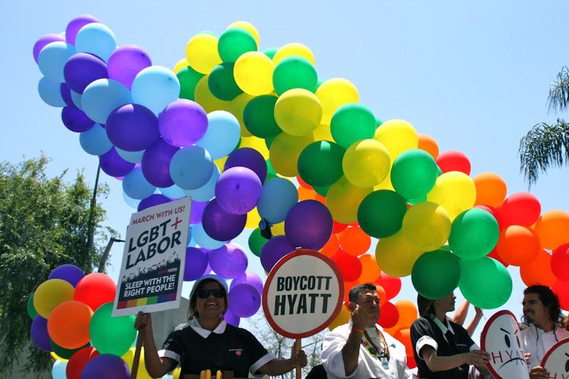 Boycott Hyatt float LA Pride 2012