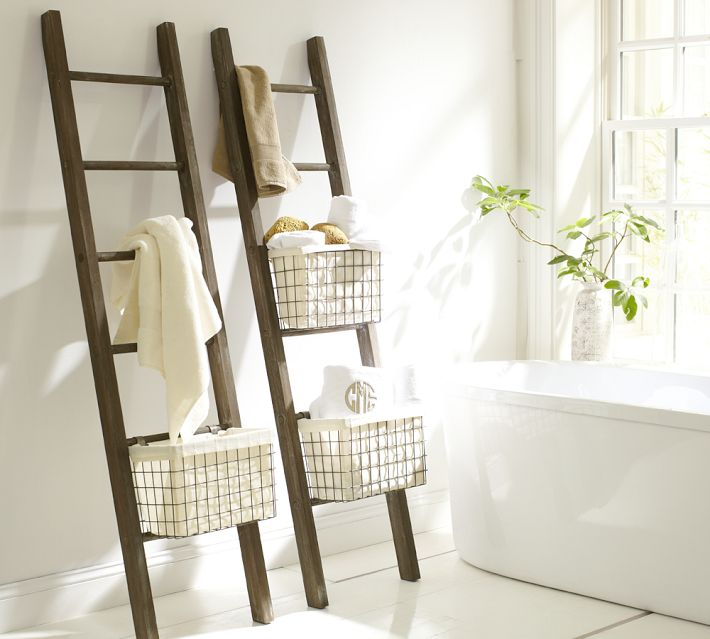 Brilliant Hang An Old Ladder On A Hook And Attach A Basket At The Bottom For Towel Rods And A Handtowel Holder Hanging Wire
