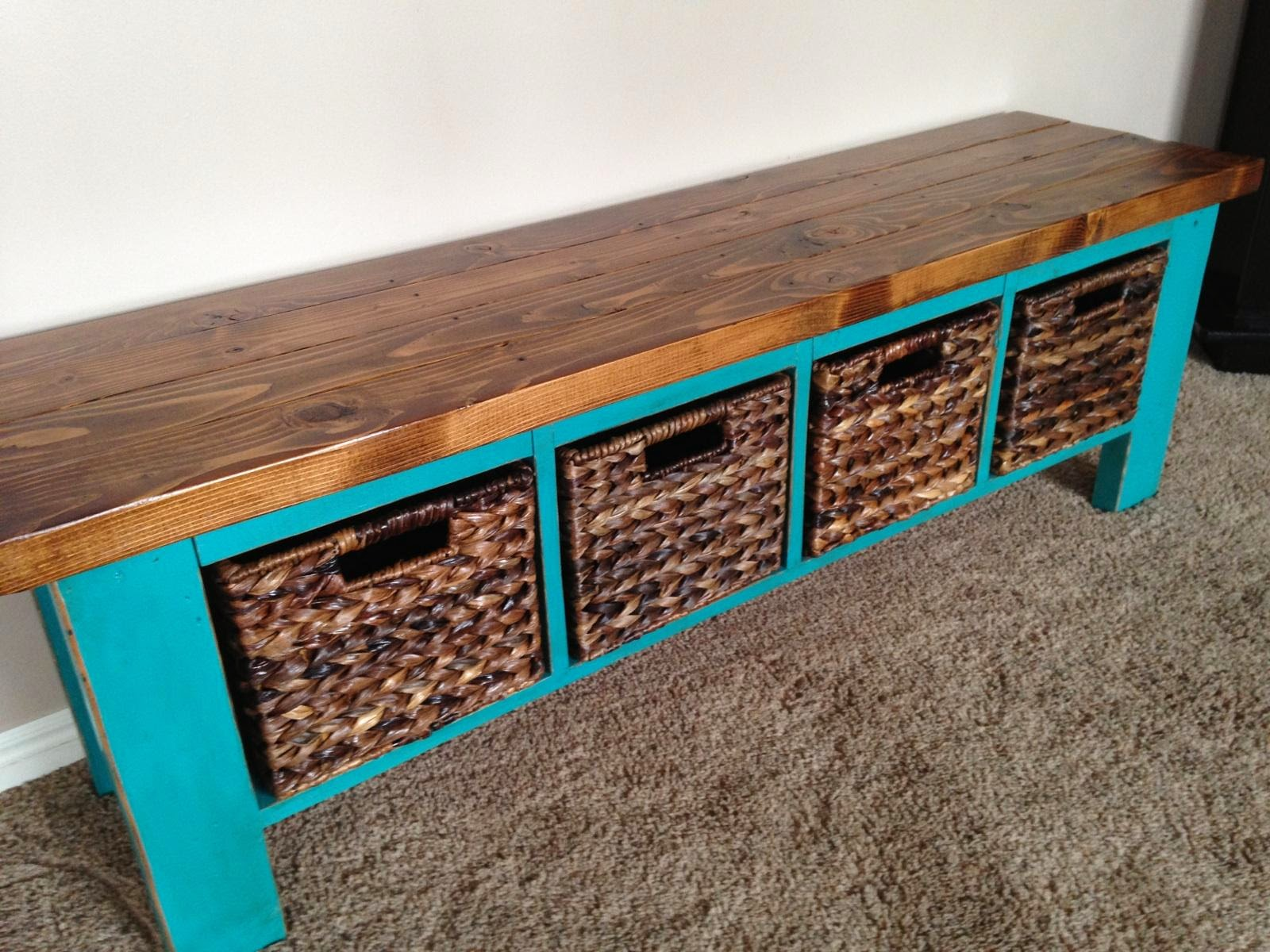 Rustic Nail Bench With Cubbies