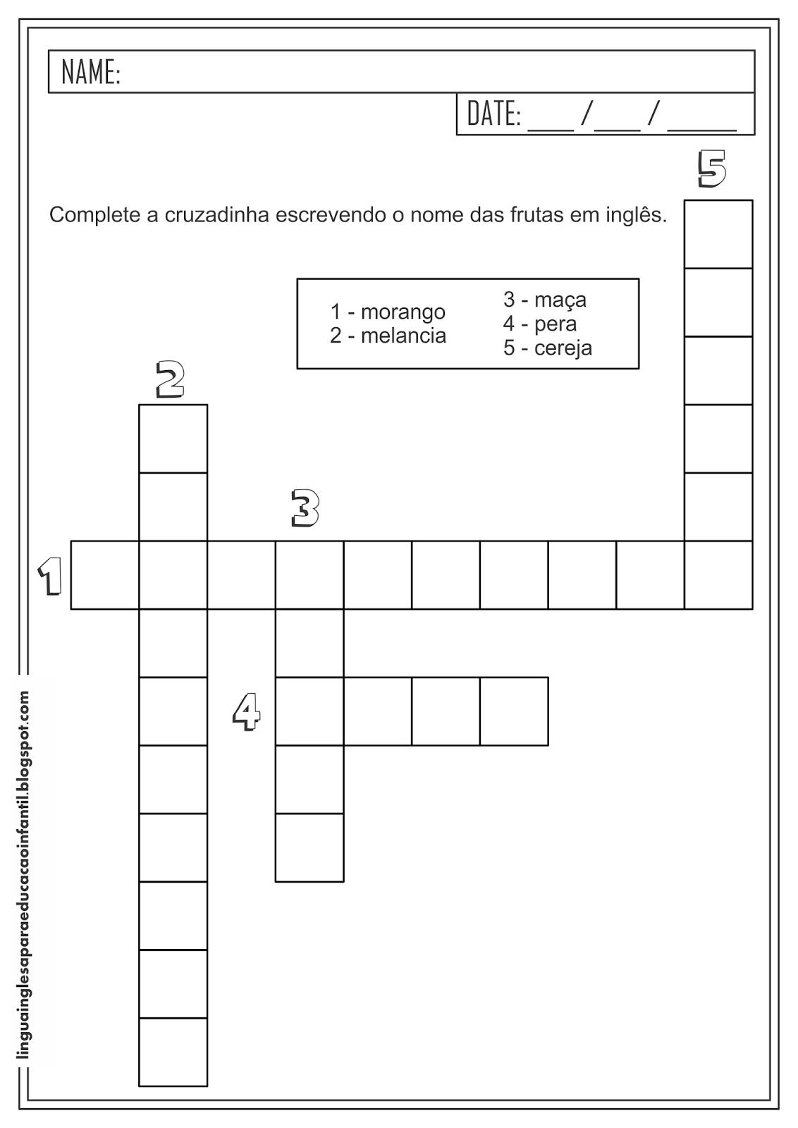Cruzadinha de frutas - Atividade de Inglês para educação infantil