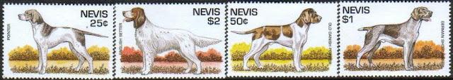 1995年セントクリストファー・ネビス ポインター イングリッシュ・セター オールド・デニッシュ・ポインター ジャーマン・ショートヘアード・ポインターの切手