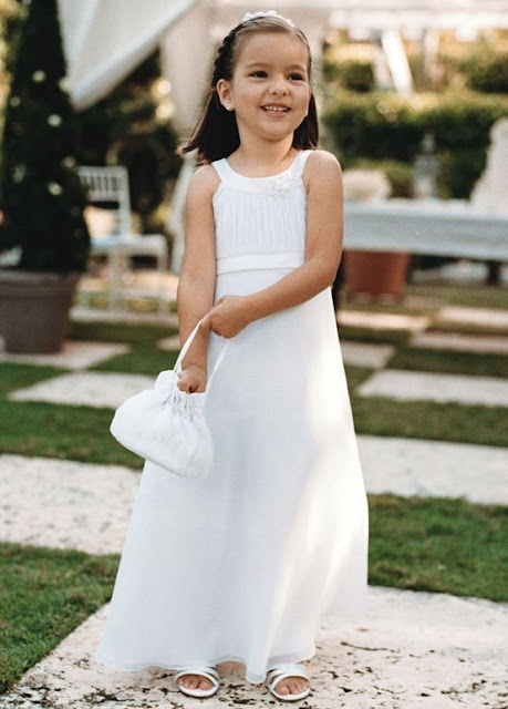 Flower Girl Dresses - David's Bridal Flower Girl Jewel neckline adorned with floral beaded applique