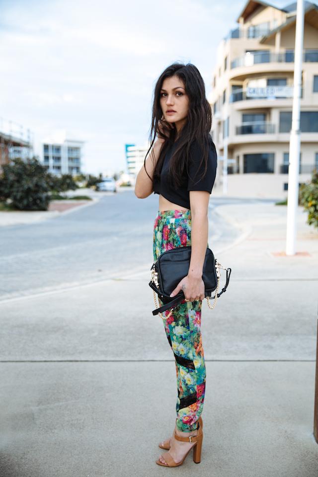 Perth fashion & style blogger wearing Asos, Elliatt, Zara & Dylan Kain in Dolphin Quay, Mandurah. Statement print pants street style.