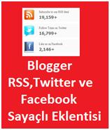 Blogger RSS,Twitter ve Facebook Sayaçlı Eklentisi