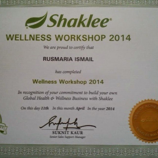 Sijil Wellness Workshop Shaklee April 2014