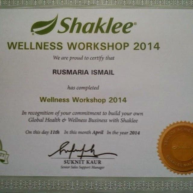 Sijil Wellness Workshop Shaklee April 2014