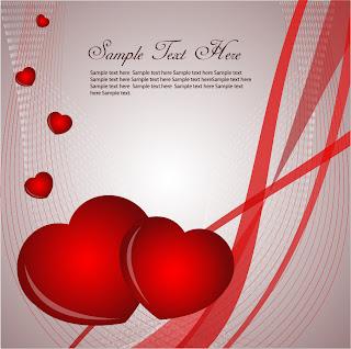 赤いハートのバレンタインデー用背景 Heart Valentines Card Vector Graphic イラスト素材