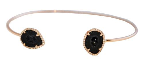 Black Agate and Diamond Rose Gold Bracelet ($1,566) and Rose Gold Diamond X Bracelet