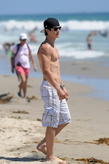 David Henrie walks shirtless on the beach